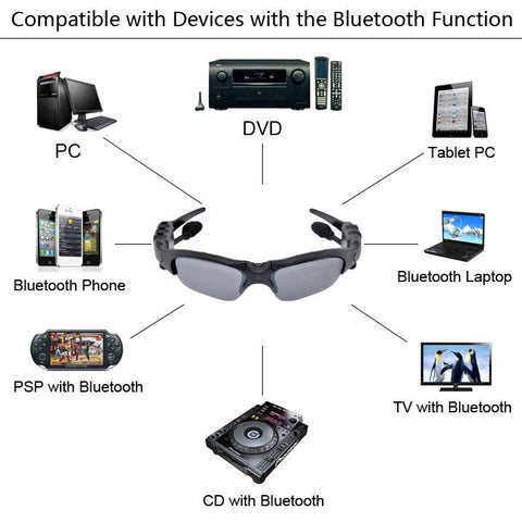 Bluetooth Headset Sunglasses + 8GB Memory card + DV DVR Video Camera + MP3 Player high resolution 200w Mini Camcorders Recorder Idiyka
