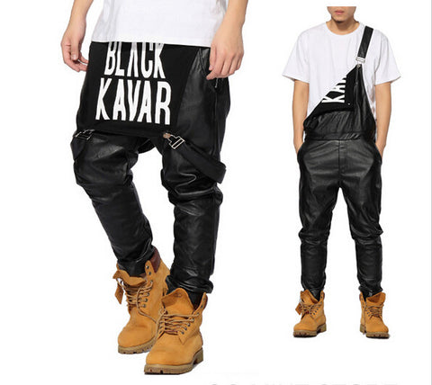 Mens Hiphop Hip Hop Swag Black Leather Overalls Pants