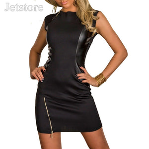 Leather Dance Club Wear Women Zipper Sexy Dresses Idiyka