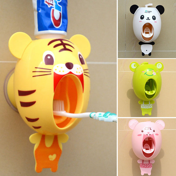 For Kids  Cartoon animals Design Set Cartoon bathroom household Toothbrush Holder - Idiyka.com