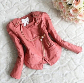 PU leather kids jackets & coats baby girl - Idiyka.com