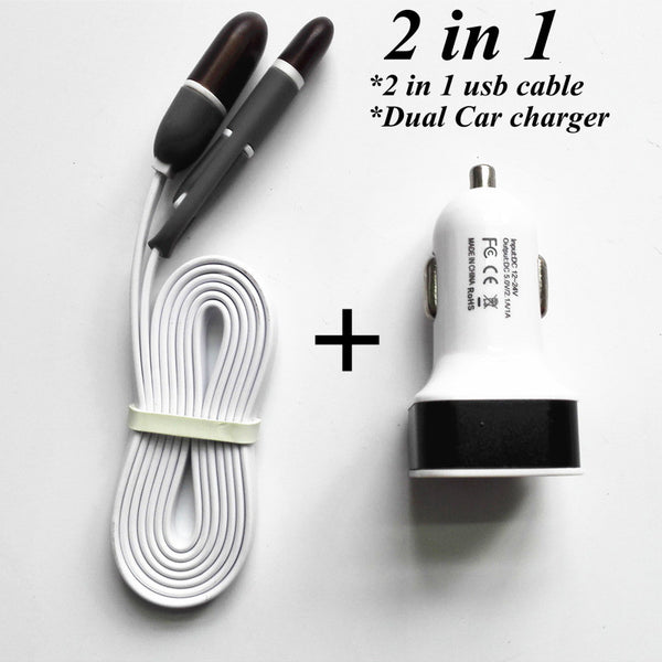 2 in 1 USB Data Cable +12V 2.1A 2 Port USB Car charger - Idiyka.com