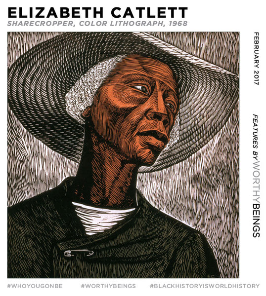 Sharecropper, color lithograph by Elizabeth Catlett