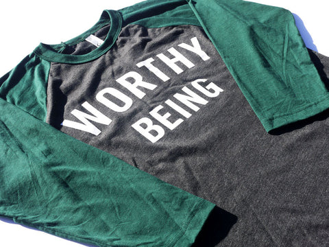 WORTHY BEING, The Signature 3/4 Baseball Tee