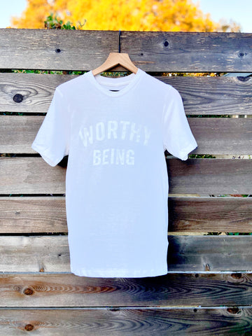 WORTHY BEING, The Signature Tee [Fresh Whites]