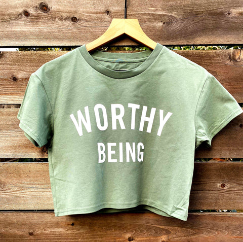 WORTHY BEING, The Signature Crop (Sage + White)