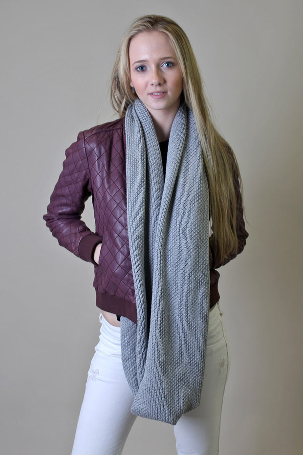Organic Cotton Soft Knit Infinity Scarf - Heather Gray