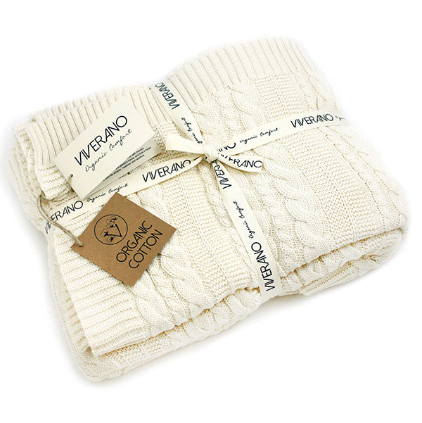 Viverano Organic Cotton Cozy Soft Cable Knit Throw Blanket