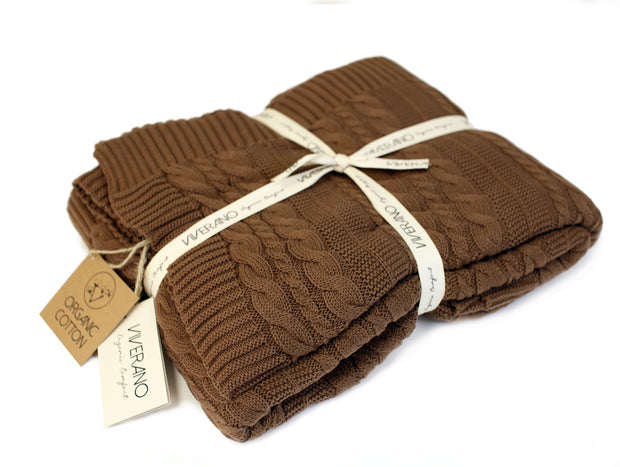 Viverano Organic Cotton Cozy Soft Cable Knit Throw Blanket by Viverano
