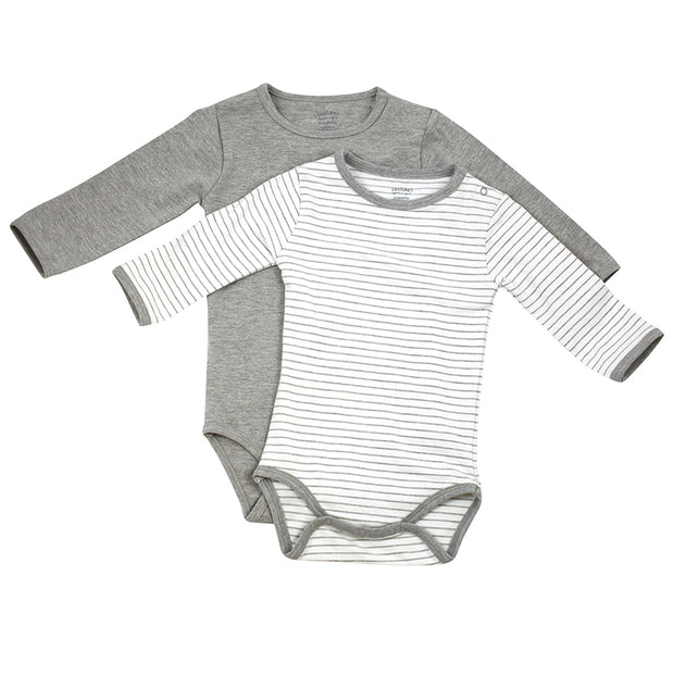 Viverano Venice Stripe Jersey Long Sleeve Romper Bodysuit - 2 Pack (2 Colors)