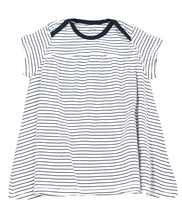 Viverano Venice Stripe Organic Cotton Jersey Short Sleeve Dress Top for Baby Girls (2 Colors)