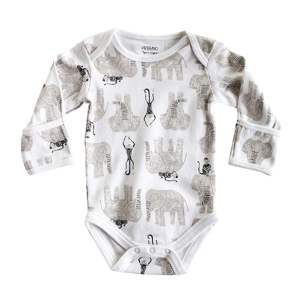 Viverano Jaipur Elephant Monkey Organic Cotton Bodysuit for Babies