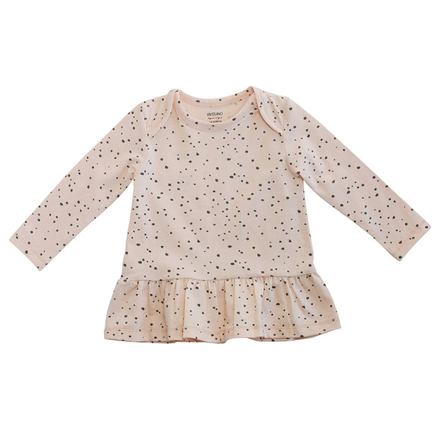 Viverano Florence Dot Organic Cotton Dress Top for Baby Girls - Long Sleeve