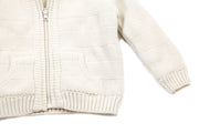 Viverano Milan Ribbed Knit Organic Cotton Hooded Zip Sweater for Babies