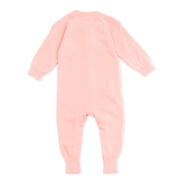 Viverano Milan Soft Organic Knit Pink Coverall Onesie for Baby Girl - Baby Shower Gifts