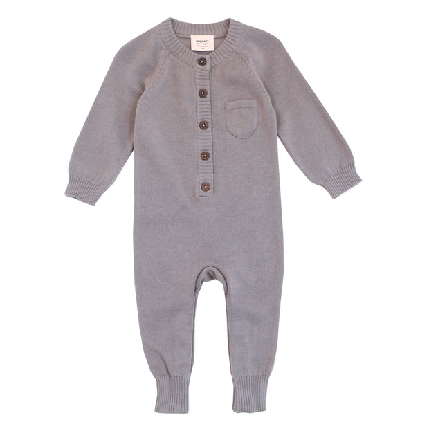 Viverano Milan Soft Organic Knit Grey Coverall Onesie for Babies- Baby Shower Gifts