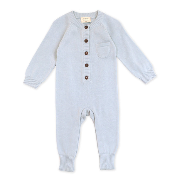 Viverano Milan Soft Organic Knit Blue Coverall Onesie for Babies- Baby Shower Gifts