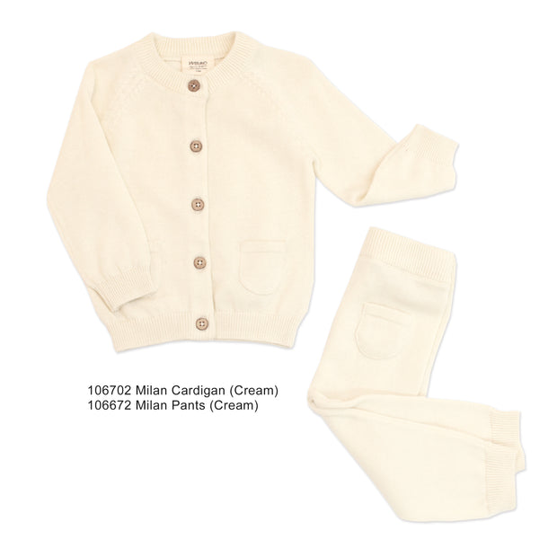 Viverano Organic Cotton Knit Button Natural Cream Cardigan Sweater for Babies