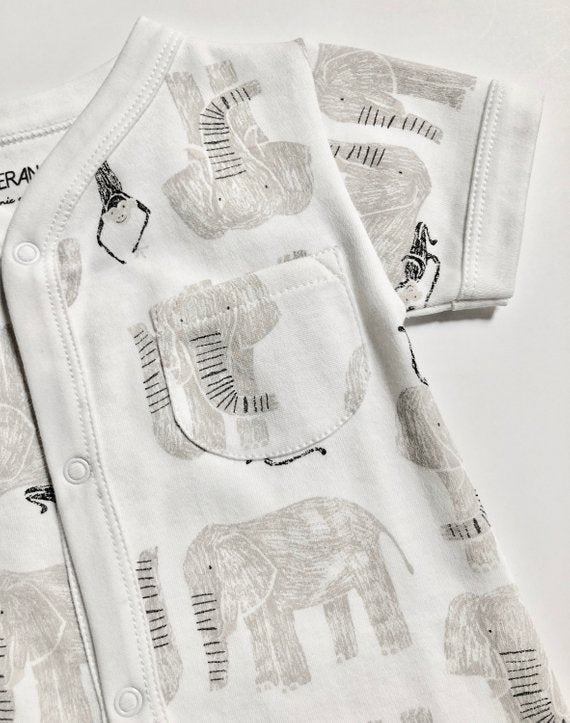 Viverano Jaipur Elephant Monkey Organic Cotton Romper for Babies - Baby Shower Gift Ideas