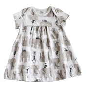 Viverano Jaipur Elephant Monkey Organic Cotton Dress Top - Baby Girls Shower Gifts