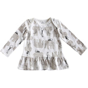 Viverano Jaipur Elephant Monkey Organic Cotton Dress Top - Baby Girls
