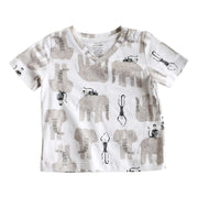 Viverano Jaipur Elephant Monkey Organic Cotton T-Shirt - Short Sleeve