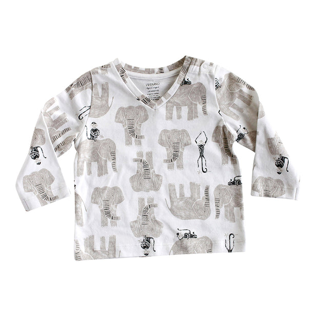 Viverano Jaipur Elephant Monkey Organic Cotton T-Shirt - Long Sleeves