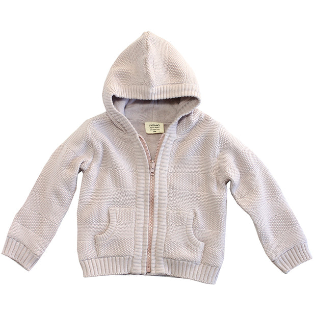 Viverano Milan Rib Knit Organic Cotton Hoodie Zip Sweater for Babies