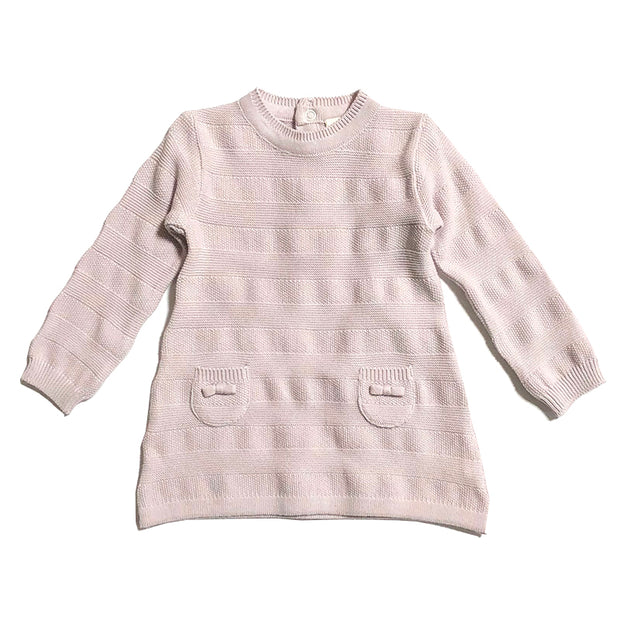 Viverano Milan Organic Cotton Rib Knit Sweater Dress Top for Baby Girl