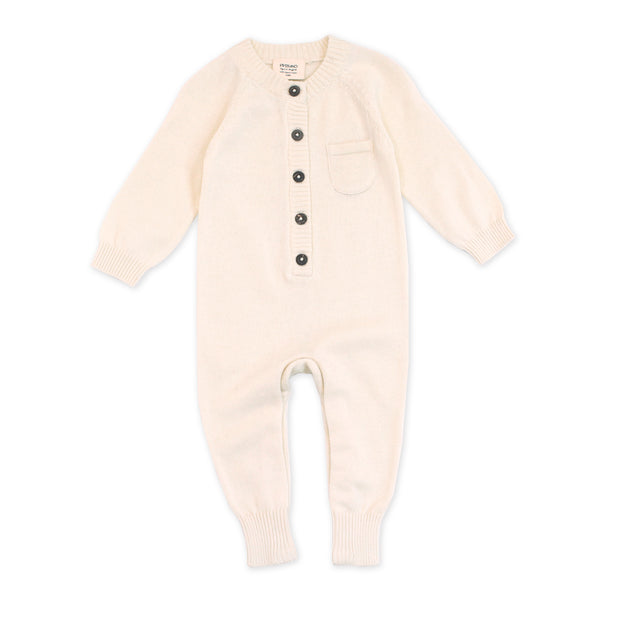 Viverano Milan Soft Organic Knit Natural Coverall Onesie for Babies- Baby Shower Gifts