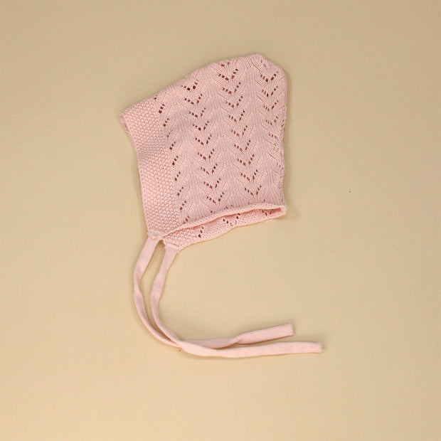 Organic Cotton Pointelle Knit Bonnet Hat - Baby Shower Gifts - Viverano