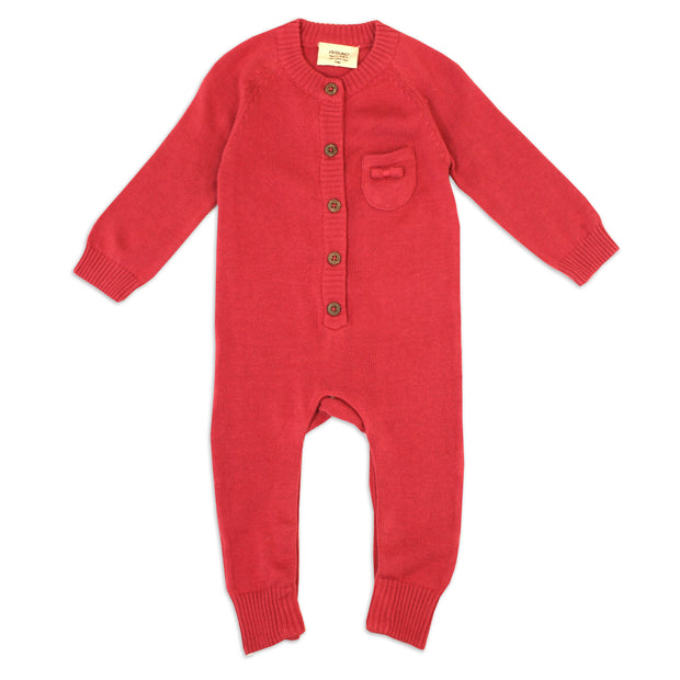 Marseille Organic Cotton Knit Holiday Red Coverall for Babies - Viverano