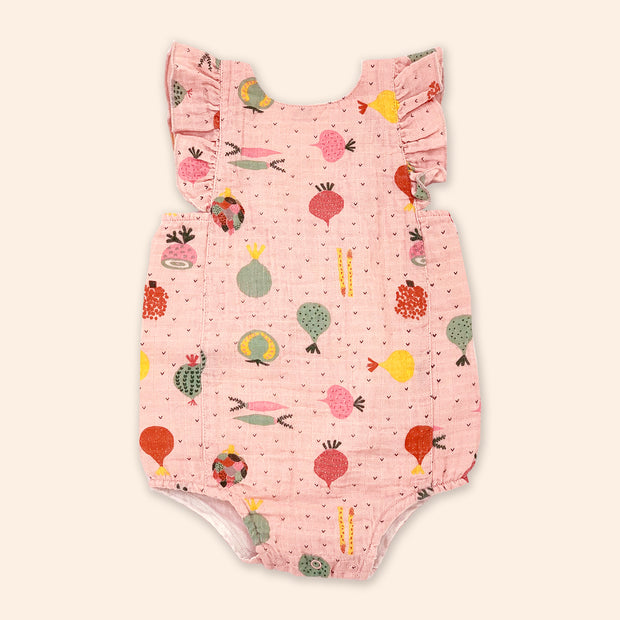 Organic Cotton Ruffled Shoulder Strap Romper for Baby Girl - Veggie Salad