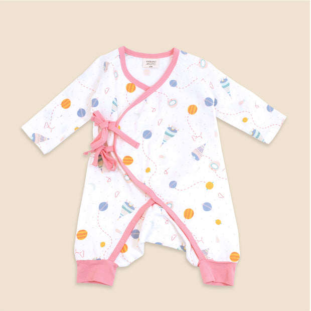 Organic Cotton Kimono Coverall Romper for Babies- Space Dream
