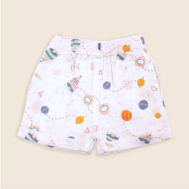 Organic Cotton Detachable Suspender Shorts for Babies - Space Dream by Viverano