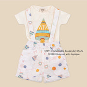 Organic Cotton Bodysuit with Space Shuttle Applique for Babies- Space Dream by Viverano