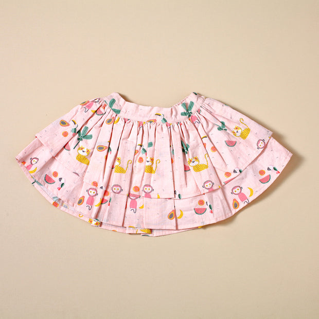 Two Tier Skirt with Bow - Tropical Jungle