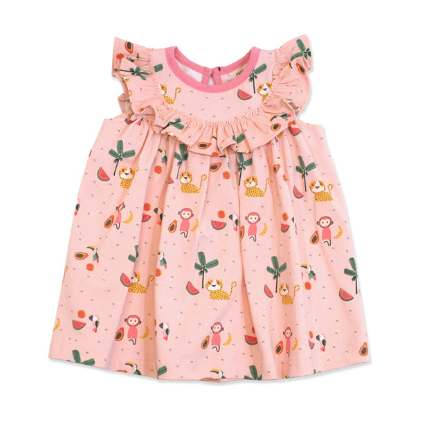 Organic Cotton Sleeveless Ruffle Medallion Dress for Babies - Tropical Jungle By Viverano