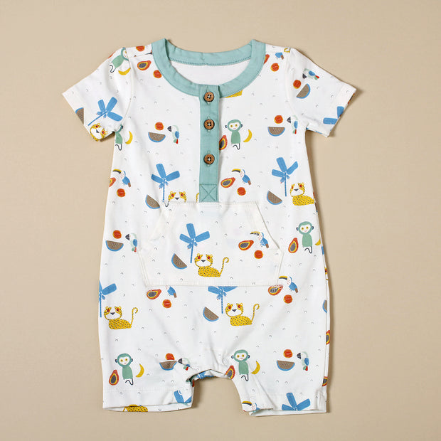 Organic Cotton Kangaroo Pocket Romper - Tropical Jungle