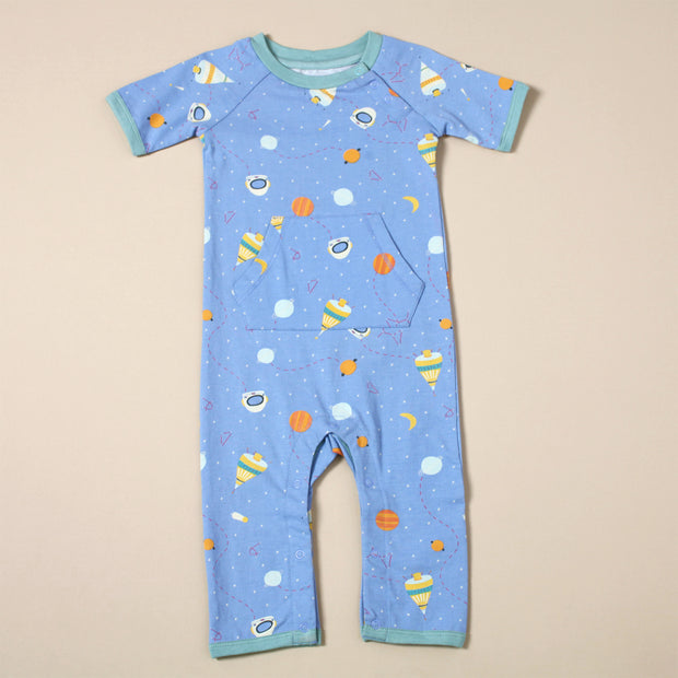 Organic Cotton Short Sleeve Coverall Romper - Space Dream