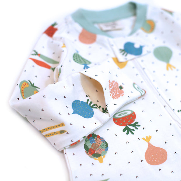 Organic Cotton Zipper Footie Coverall for Babies - Veggie Salad by Viverano