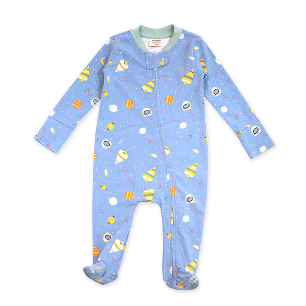 Organic Cotton Zipper Footie Coverall - Space Dream