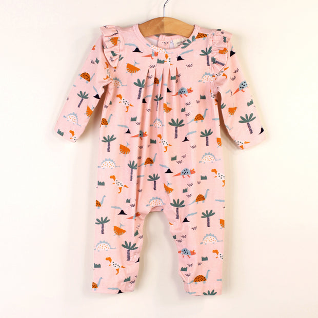 Organic Cotton Dino Ruffle Coverall Romper for Babies by Viverano