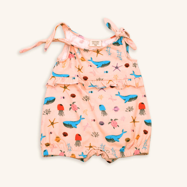 Ocean Girl Shoulder Tie Knot Romper (Organic Cotton)