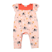 Organic Cotton Elephant Short Sleeve Baby Girl Romper - Viverano