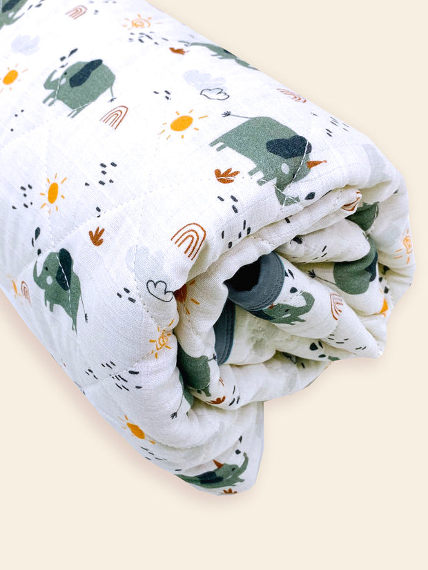 Organic Elephant Reversible Baby Quilted Blanket - Baby Shower Gifts