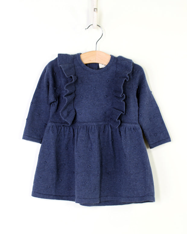 Milan Organic Cotton Heather Knit Ruffle Bobbles Dress for Baby Girls