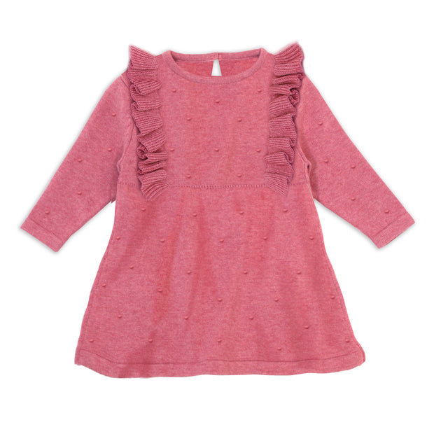 Milan Organic Cotton Heather Knit Ruffle Bobbles Dress for Baby Girls by Viverano