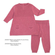 Milan Organic Cotton Heather Knit Dress and Legging Pants for Babies by Viverano
