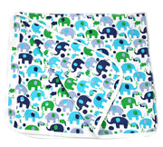 Viverano Organic Cotton Baby Blanket (Blue Elephants) Reversible, Double Layer